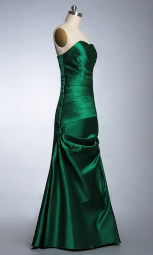 Elegant Royal Green Color Real Image New 2017 Y Backless Strapless A Line Satin Floor Length Pleats Prom Evening Dress Gown In Dresses From