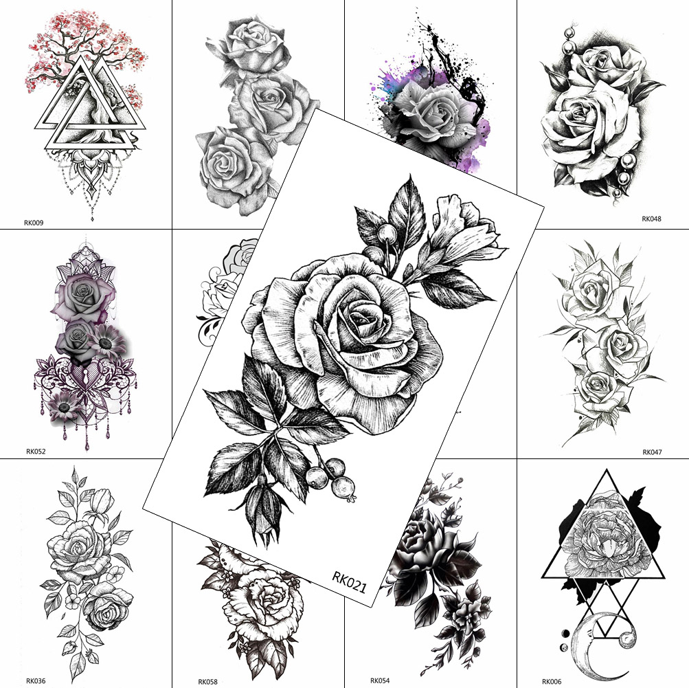 Black Realistic Flower Temporary Tattoos Sticker For Women Fake Jewelry Body Art Washable Tattoo Rose Arm Tatoos Drawing Sheet