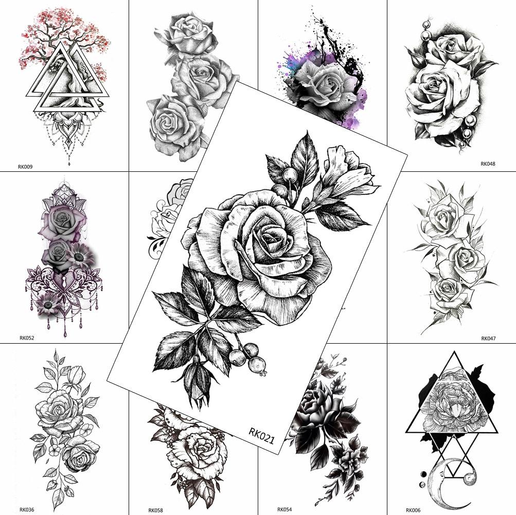 Black Realistic Flower Temporary Tattoos Sticker For Women Fake Jewelry Body Art Washable Tattoo Rose Arm Tatoos Drawing Sheet