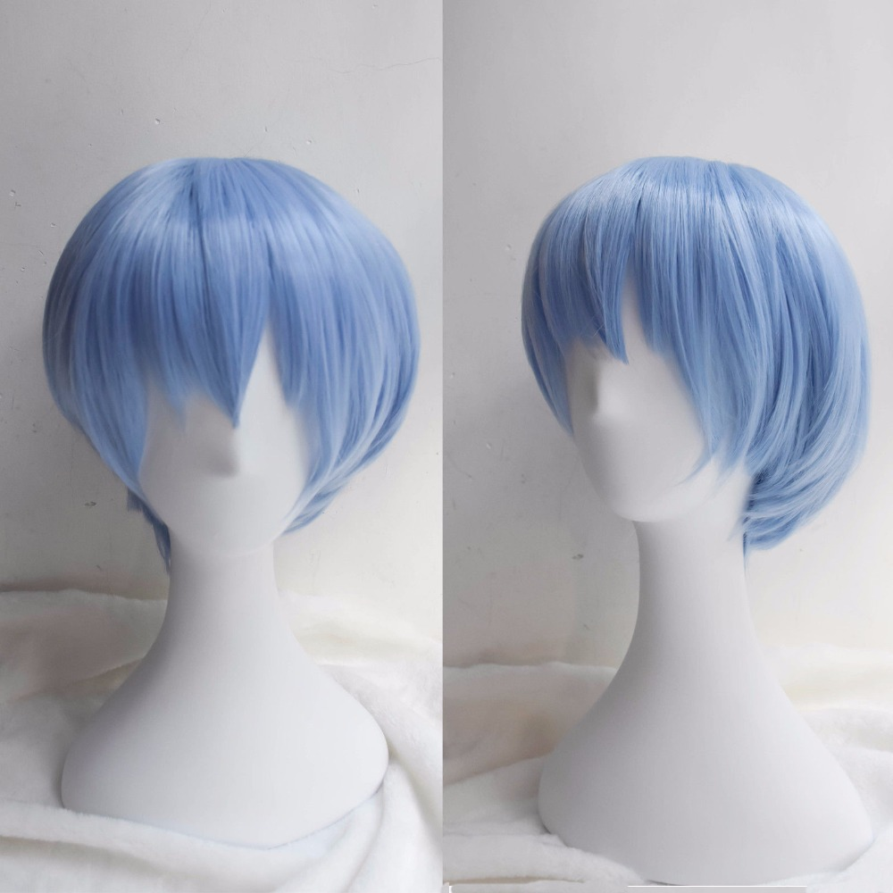 Takerlama EVA Neon Genesis Evangelion Ayanami Rei Cosplay Wigs Short Light Blue Synthetic Hair Perucas Cosplay Wig