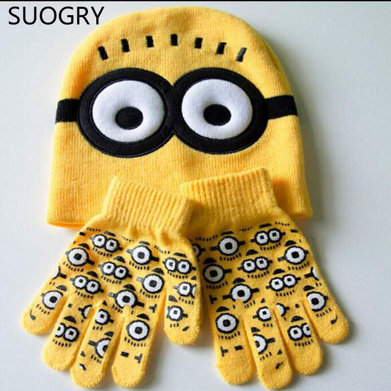 Minions Hats Glove Set Baby Boys 2015 New Children Cartoon Winter Knitted Caps for Children Skullies & Beanies gorros