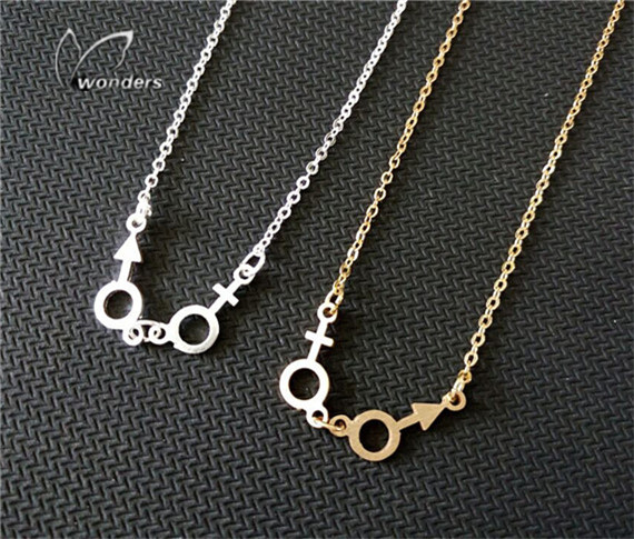 Dainty Male And Female Sign Necklace Custom Symbol Pendant Fashion