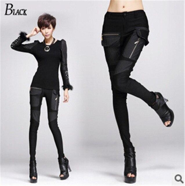 Elastically material 2015 fashion pants women Sexy black skinny pants pockets Splice women trousers elegant Slim Pencil pants