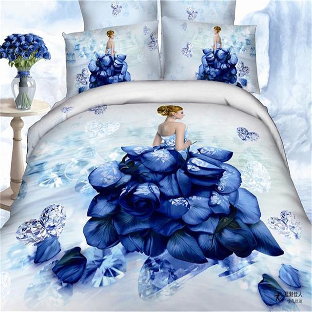 3D romantisk kjærlighet 100% bomull oljemaleri Bedding Set King Size dynetrekk lakenet Bed setter Sengetøy
