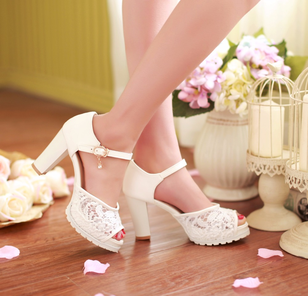 KEBEIORITY 2018 High Heel Shoes Woman Ankle Strap Platform Sandals Summer Pink White Wedding Shoes Pumps Women Sandalias