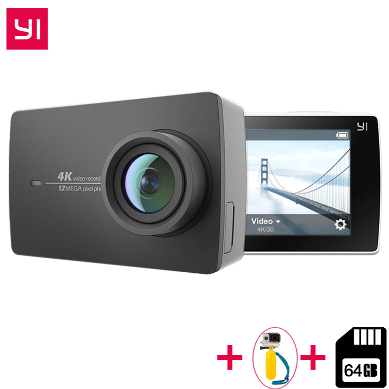 Free 64 GB SD Card for Xiaomi YI 4K Action Camera IMX377 12MP Ambarella A9SE ARM 4K/30 155 Degree EIS LDC 2.19 Retina HD Screen