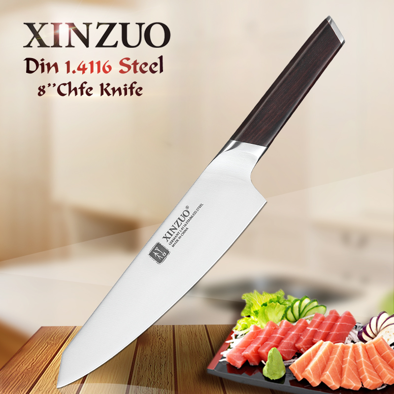 XINZUO 8 Chef Knife Stainless Steel Kitchen Knives New Arrival German 1.4116 Cleaver Vegetable Cooking Knives Ebony HandleXINZUO 8 Chef Knife Stainless Steel Kitchen Knives New Arrival German 1.4116 Cleaver Vegetable Cooking Knives Ebony Handle