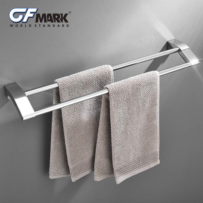 GFmark Double Towel Bars Chrome Plated Hanging Rod Holder Wall Mount Hanger Towel Rail Rack Toalleros Bathroom Accessories стоимость