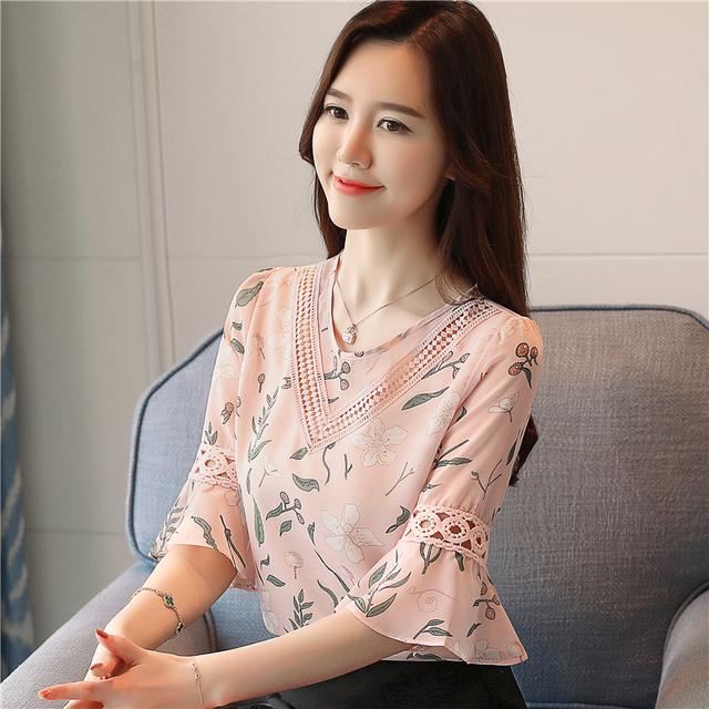 2018 fashion print chiffon blouse women shirt flare sleeve summer women tops hollow chiffon women blouses shirts blusas 0278 40