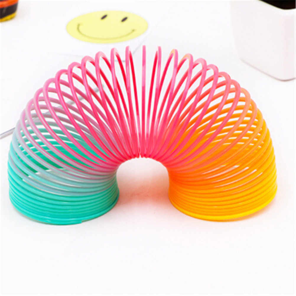 EHBqna Fashion 1PC Spring Protean Colorful Circle Folding Plastic Coil Children Creative Educational Classic Toy Gift Party Game