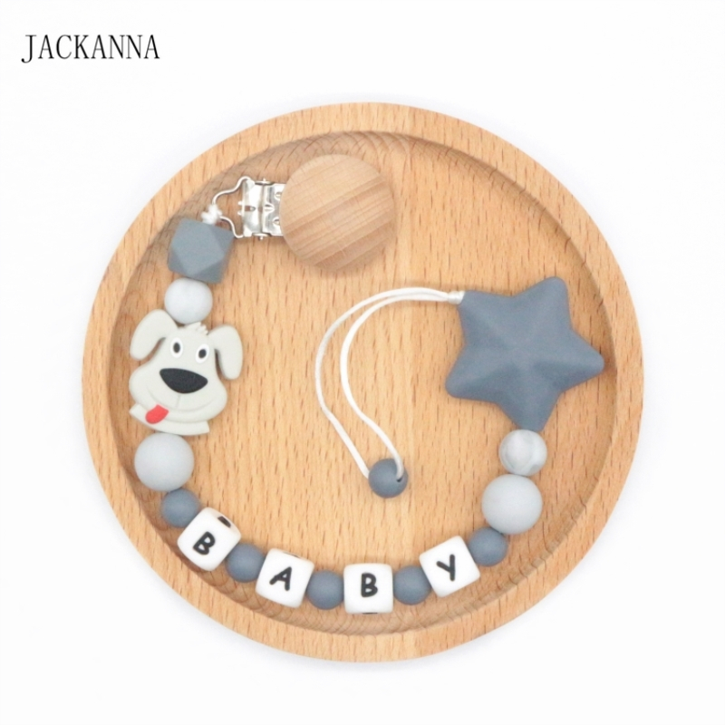 Custom Baby Name Pacifier Clips Dog Beads Pacifier Chain Infant Baby Pacifier Holders Dummy Clips Newborn Baby Shower Gifts