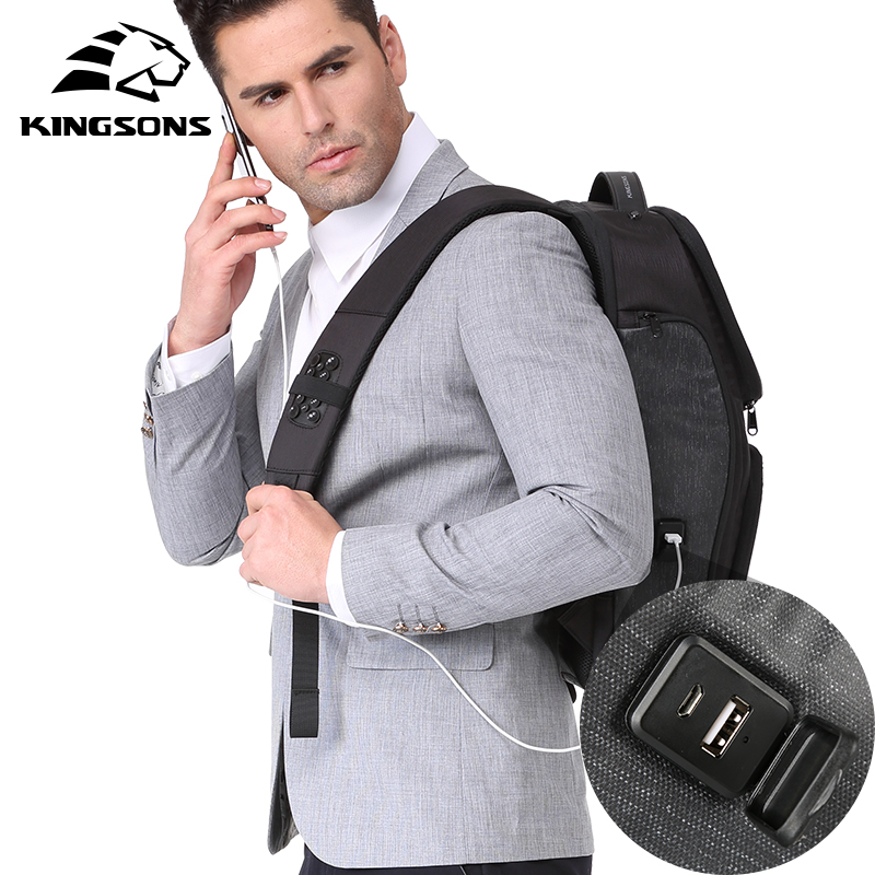Kingsons 2018 Anti thief Men Backpack 15.6 Inches Backpack Male New Laptop Bag Business Travel Mochila Bagpack Pack Design все цены