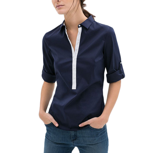 2016 new fashion brand shirt women blouses chiffon elegant solid botton casual blusas body formal blouse tops women clothing