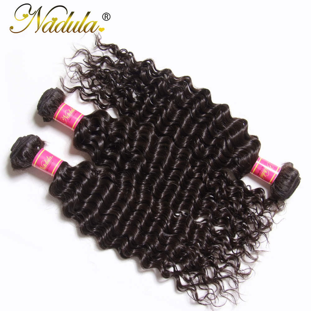 Nadula Hair  Deep Wave Bundles With Closure 4*4 Free Part Closure With   s 3 Bundles With Closure 4