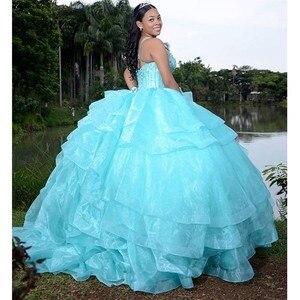 Image 3 - טורקיז אורגנזה חצאית Quinceanera שמלות סקופ טנק מבריק חרוזים פאייטים מתוק 15 שמלות כדור שמלת sukienki balowe SQ04