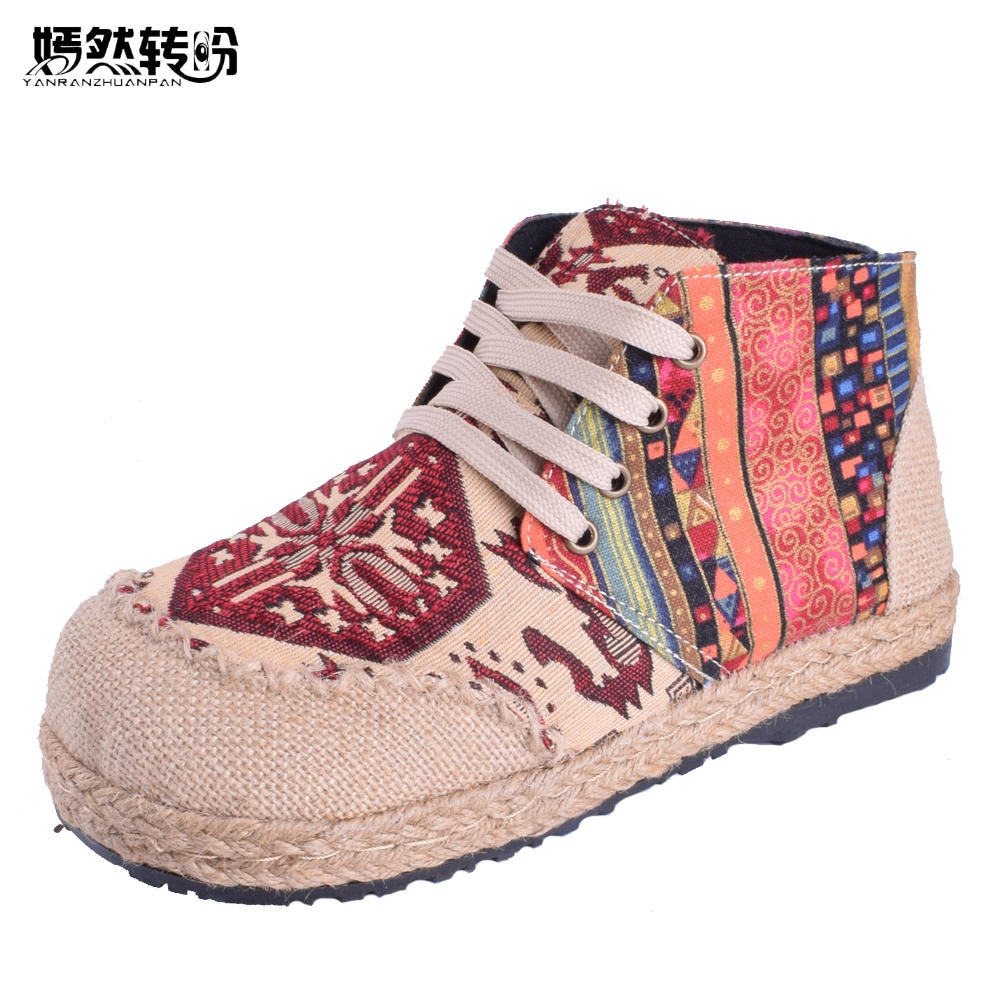 Classic Embroidered Ladies Sneakers Thai Boho Cotton Linen Canvas Fabric Single Nationwide Handmade Woven Spherical Toe Lace Up Flat spherical toe, ladies footwear, embroidered footwear ladies,Low-cost spherical toe,Excessive High...