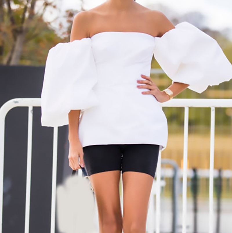 New Fashion Style Slash Neck Lantern Sleeve Three-dimensional Dress Fashion Nova Clothing