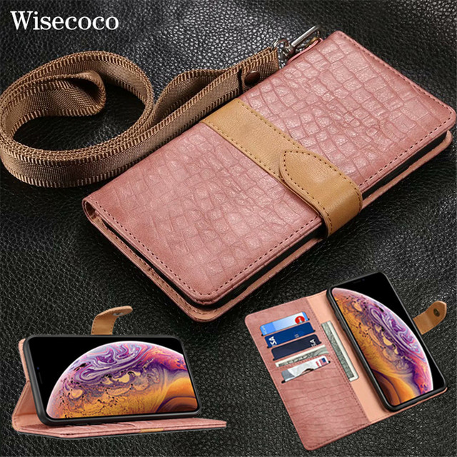 Luxury Crocodile Pattern Leather Case for IPhone XS Max XR XS X 8 7 6 6S Plus 8plus Card Holder Stand Flip Wallet Cover Lanyard