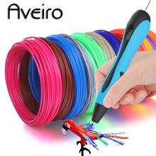 Aveiro 3d caneta led tela diy 3 d impressão canetas conjunto 100m pla/abs filamento criativo brinquedo presente para crianças desenho