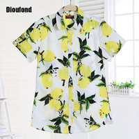 Dioufond Short Sleeve Blouse Summer Floral Vintage Shirts Cherry Shirt Women Turn-down Collar Blouses New Blusas Plus Size 2016