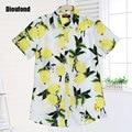 Dioufond florales camisas de la vendimia de la cereza camisa de manga corta blusa de verano de las mujeres da vuelta-abajo blusas nuevas blusas más el tamaño 2016