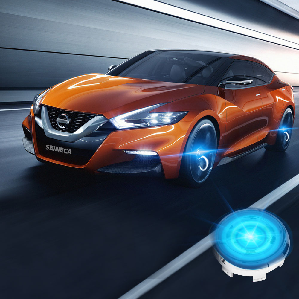 4X Coolest Car Wheel Center LED Caps Floating Illumination Hubcaps Lighting Cap Auto Accessories Blue Light