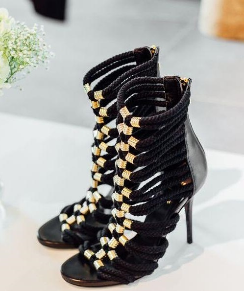 Hot Selling Gold Studded Decor Strappy Sandals Cut-out Peep Toe Cage Shoes For Women Thin Heels Ankle Strap Dress Shoes Big Size red patent leather strappy sandals cut out ankle strap buckle high heel shoes peep toe cage shoes women summer dress shoes