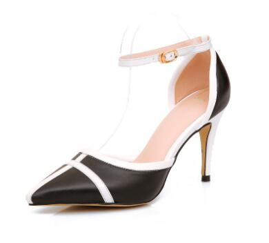 Black and white splicing pointed toe high heel women shoes Fashion ankle strap thin heel pumps High heels Female dress shoes black smooth leather women pointed toe ankle buckle pumps deep v back ladies blade heel shoes spring fashion female dress shoes