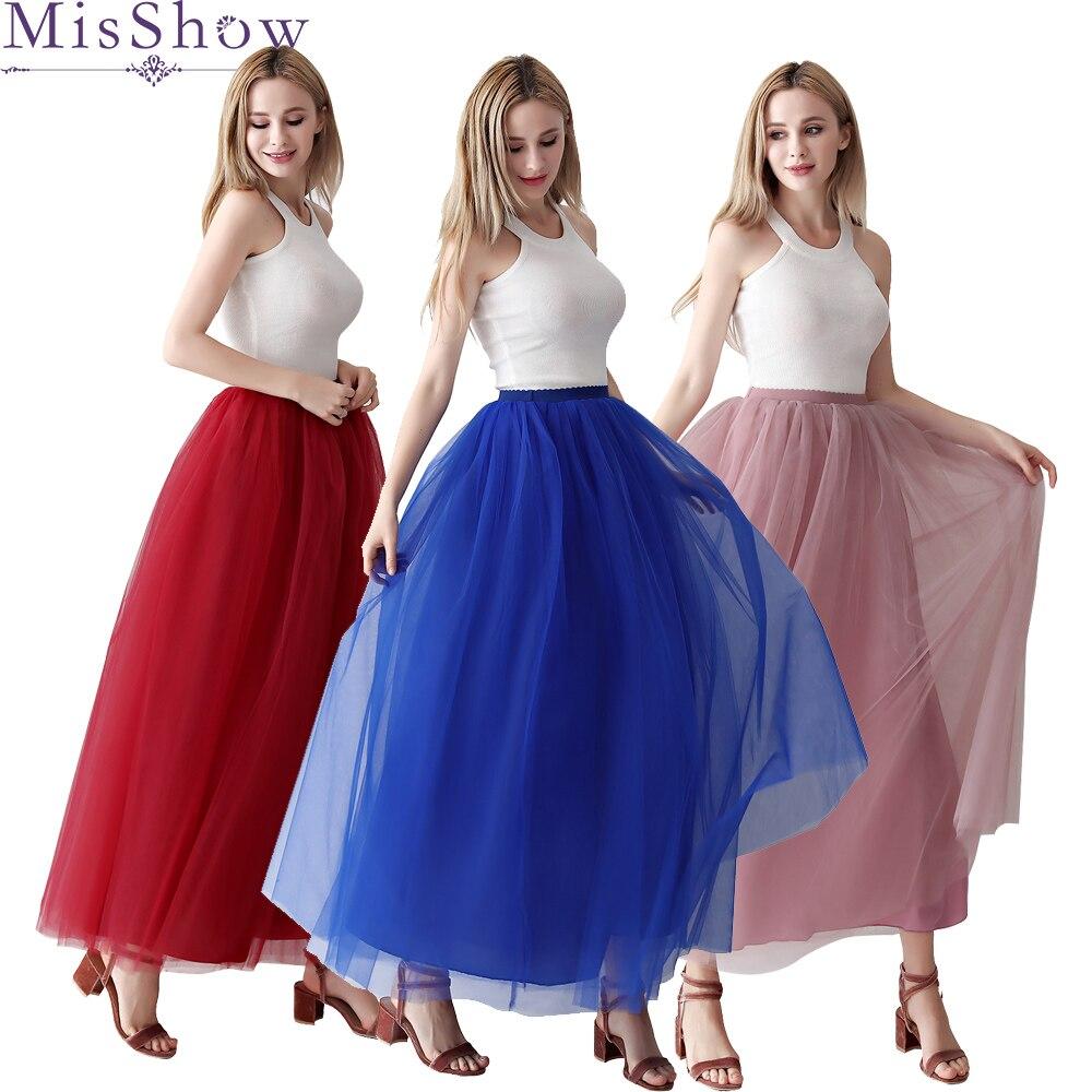 Tule Saias Das Mulheres 2019 Longo Maxi Skirt Feminino Elastic Cintura Alta Plissada Saia Tutu Vermelho Azul Royal Da Dama de Honra Saia