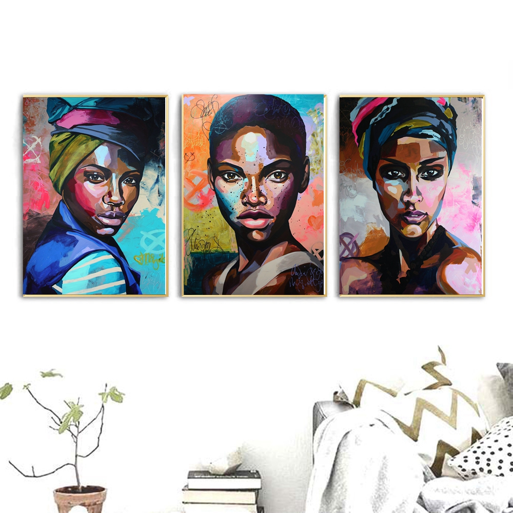 Afro-Woman-Portrait-Wall-Art-Canvas-Print-Abstract-Multi-African-Girl-Canvas-Paintings-for-Office-Room-2