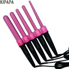Pink Interchangable Ceramic Hair Curling Iron Magic Curling Wand Tool 32/25/19/09-18/18-25mm Hair Curler Travel Roller Gift Set