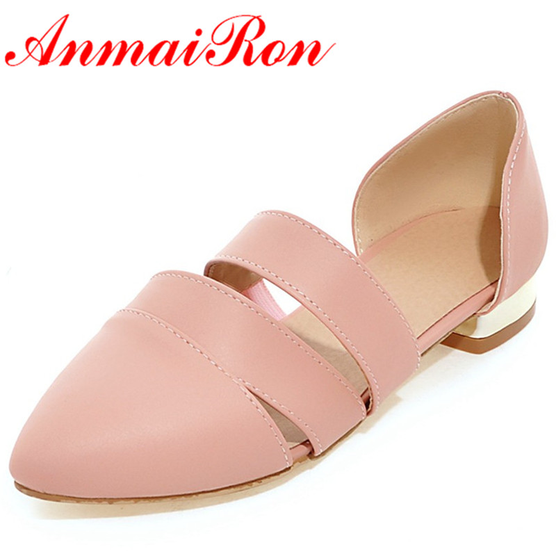 ANMAIRON Fashion New Women Summer Flats Shoes Woman Large Size 34-43 White Shoes Pointed Toe Fashion Flats Sandals Casual Shoes new 2017 spring summer women shoes pointed toe high quality brand fashion womens flats ladies plus size 41 sweet flock t179