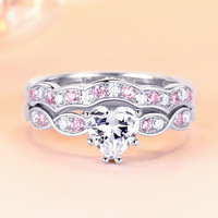 925 Stamped Sterling Silver Ring set For Women 2 PCS Bijoux Heart Pink Crystal Rings Silver 925 Jewelry Romantic Wedding