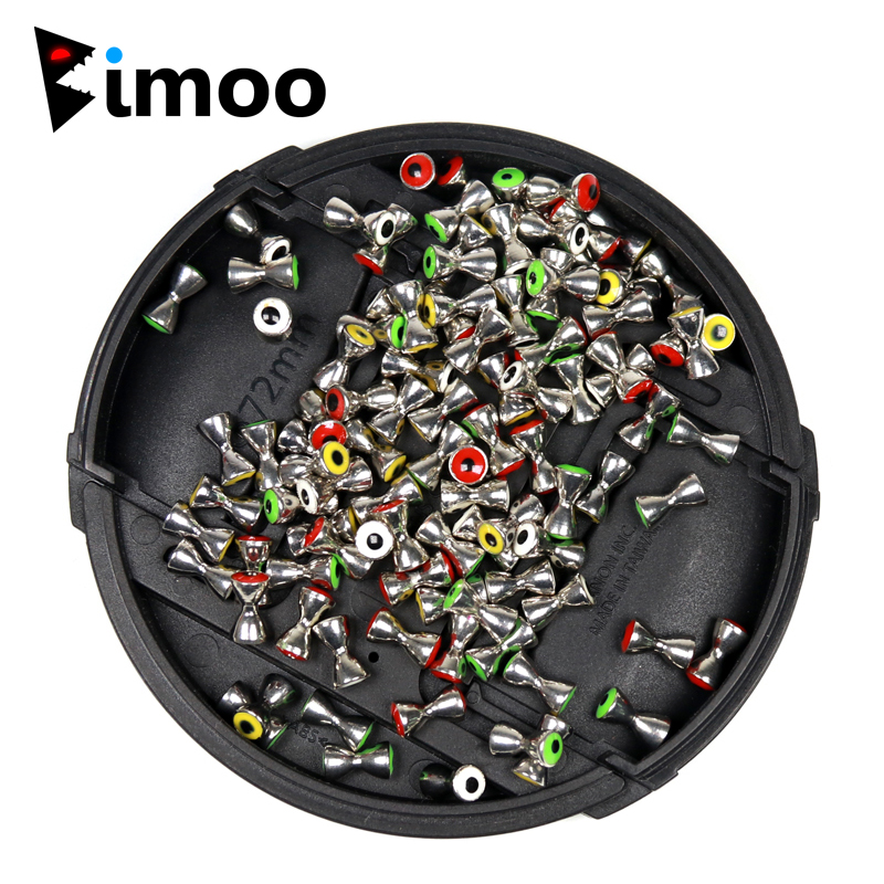 Bimoo 50pcs Fly Tying Crazy Charlie Streamers Brass Dumbbell Eyes 3.2mm 4mm 4.8mm Fly Fishing Material