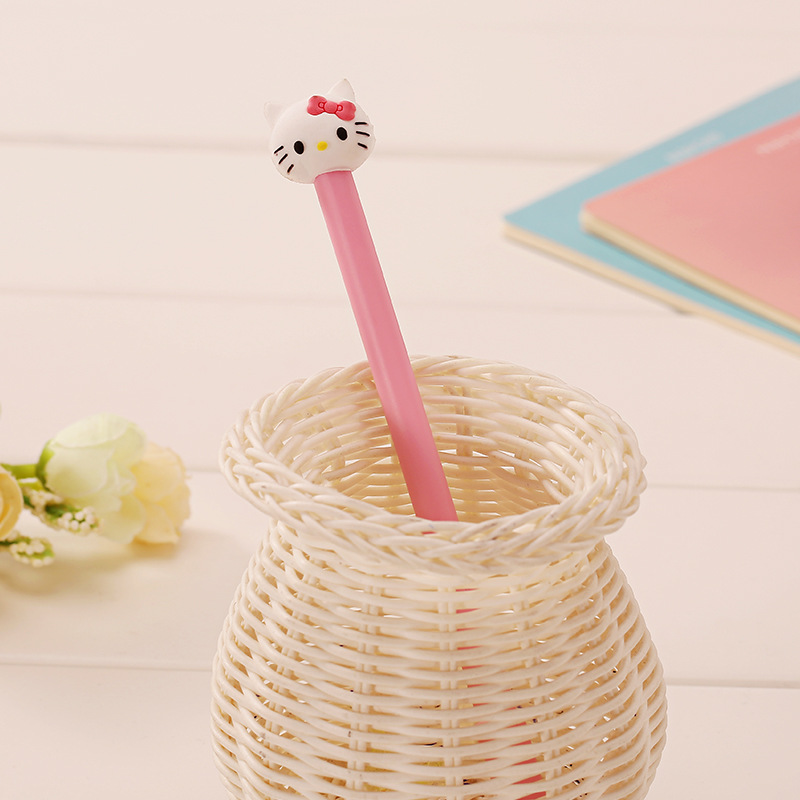 2018 Kawaii Japanese Stationery Hello Sweet Pink The Kitten Bowknot Drawing & Drafting School Writing Supplies Gel Pen Black in