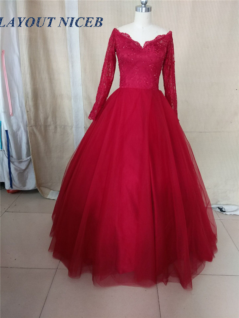 Elegant Ball Gown Lace Burgundy Prom Dresses 2018 Long Sleeve Off ...