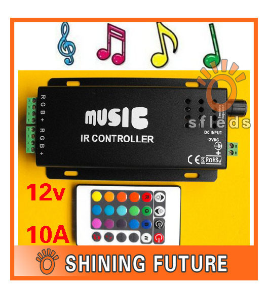 12v 10A 120W Music IR Controller Audio Sound Driver Activated IR Controller strip light LED controller For RGB LED Strips