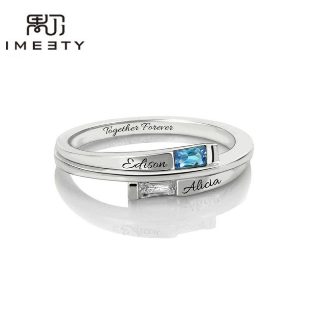 Us 39 88 Imeety Personalized Rings Silver Engraved Two Name Couple Rings With Birthstones Engagement Ring Customized Gifts In Rings From Jewelry