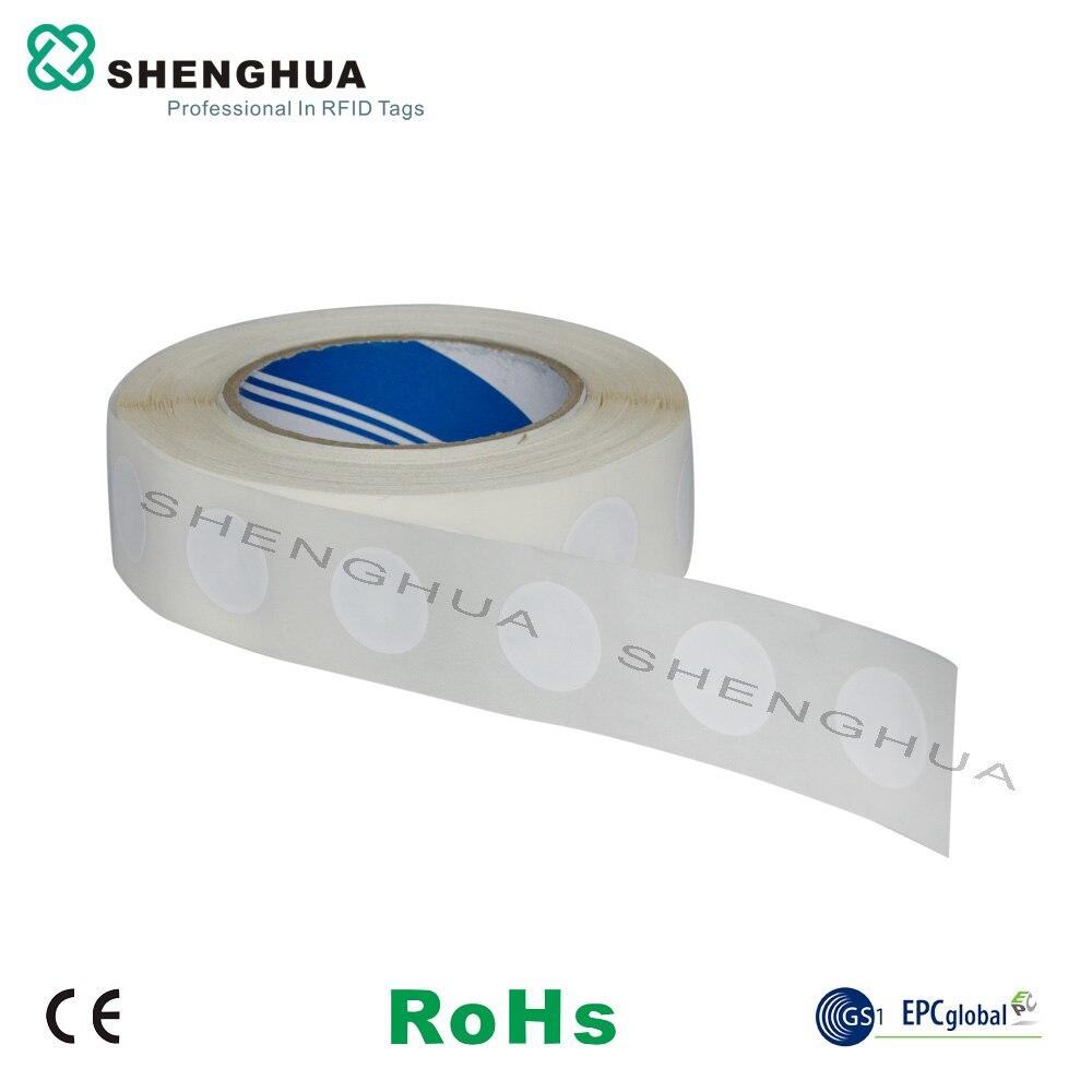 Étiquettes autocollantes ISO14443A   Étiquette en papier, RFID, 1000 MHZ ultralégère, NFC N TAG213, pièces de monnaie rondes réinscriptible, 13.56 pièces