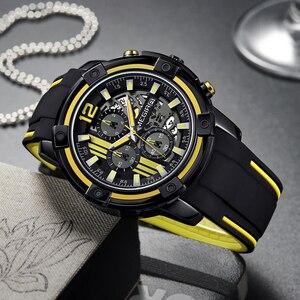 Image 4 - Megir grande mostrador de quartzo relógios masculinos com cronógrafo silicone militar relógio esporte masculino moda relógios de pulso