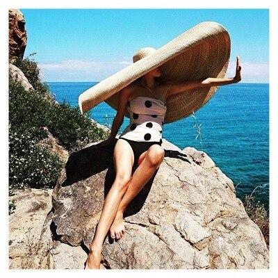 Pré-vente, environ 1.1 m, plus de 1 m fait à la main paille très grand 45cm bord mariage chapeau de soleil femmes loisirs chapeau prendre des photos