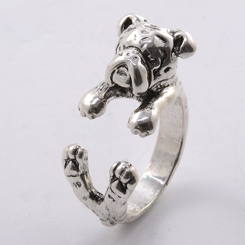 Collection Here Antique Silver Fashion Opening Ring Can Be Adjusted Dog Bulldog Rings For Women Pet Lovers Animal Ring