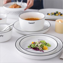 With Letters White Dinner Plate  Ceramic Kitchen Plate Tableware Set Food Dishes Rice Salad Noodles Bowl Soup Kitchen Cook Tool 5 6 8 inch japanese cherry blossom ceramic ramen bowl large instant noodle rice soup salad bowl container porcelain tableware