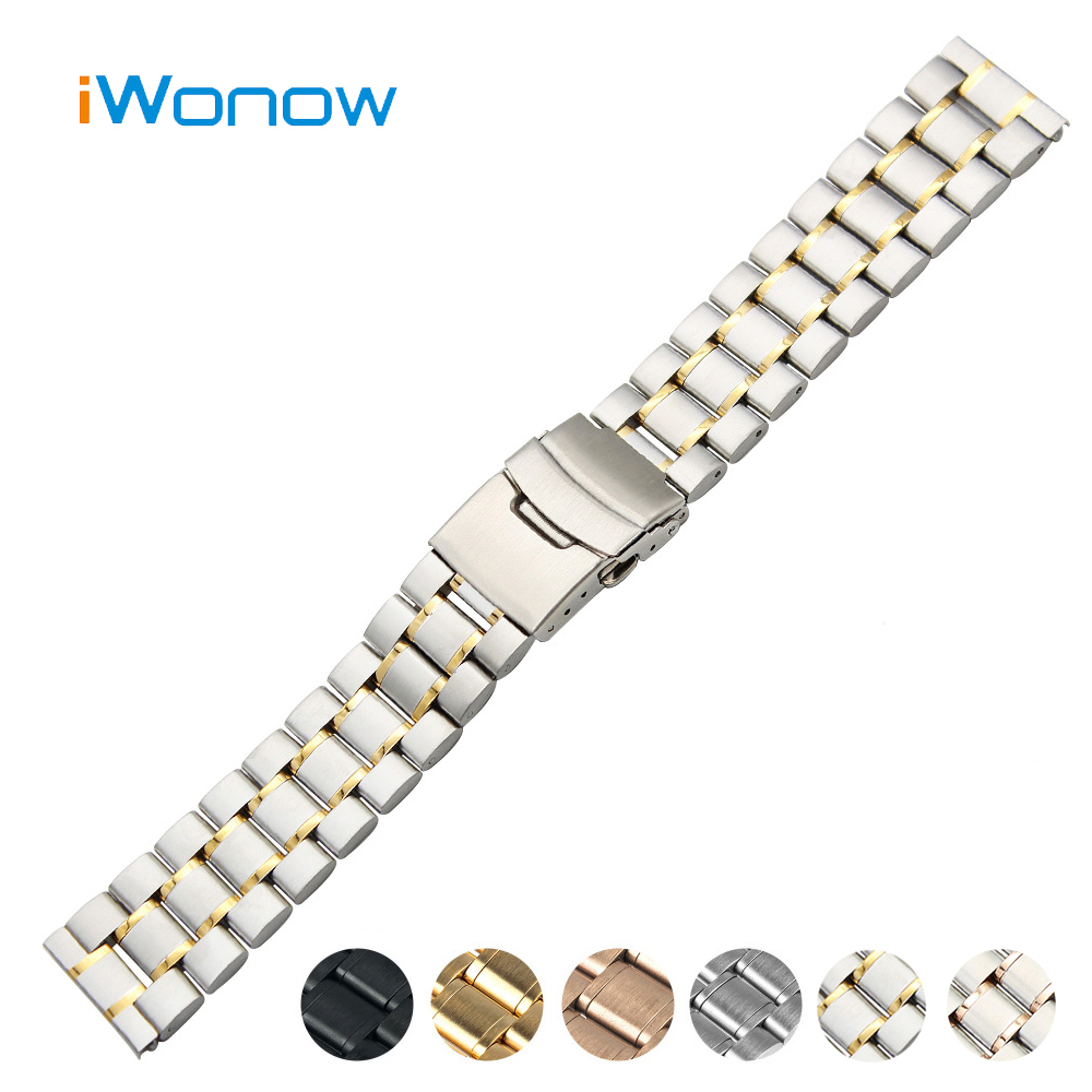 Stainless Steel Watch Band 18mm 20mm 22mm 24mm for Breitling Safety Buckle Strap Wrist Belt Bracelet Black Rose Gold Silver 18mm 20mm 22mm stainless steel watch band butterfly buckle strap men women universal wrist belt link bracelet black gold silver