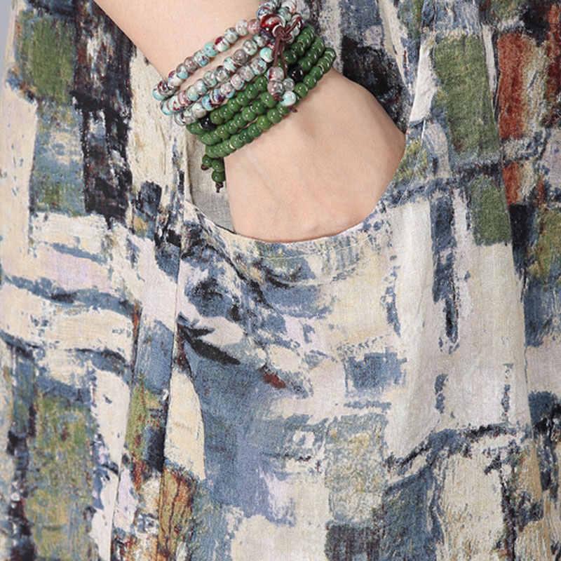 春コットンリネンスタンド襟フェミニンブラウスヴィンテージロング長袖プリント女性のシャツ夏ルーズブラウスプラスサイズ 3XL