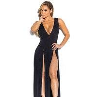 Vestidos 2016 Summer Women Maxi Dress Robe Sexy Club Ladies Party Dresses Deep V Sundress Split