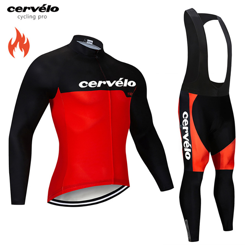 Winter Cycling Clothing Thermal Fleece Cycling Jersey Set Long Sleeve Maillot Ropa Ciclismo Invierno MTB Bicycle Bike Clothes