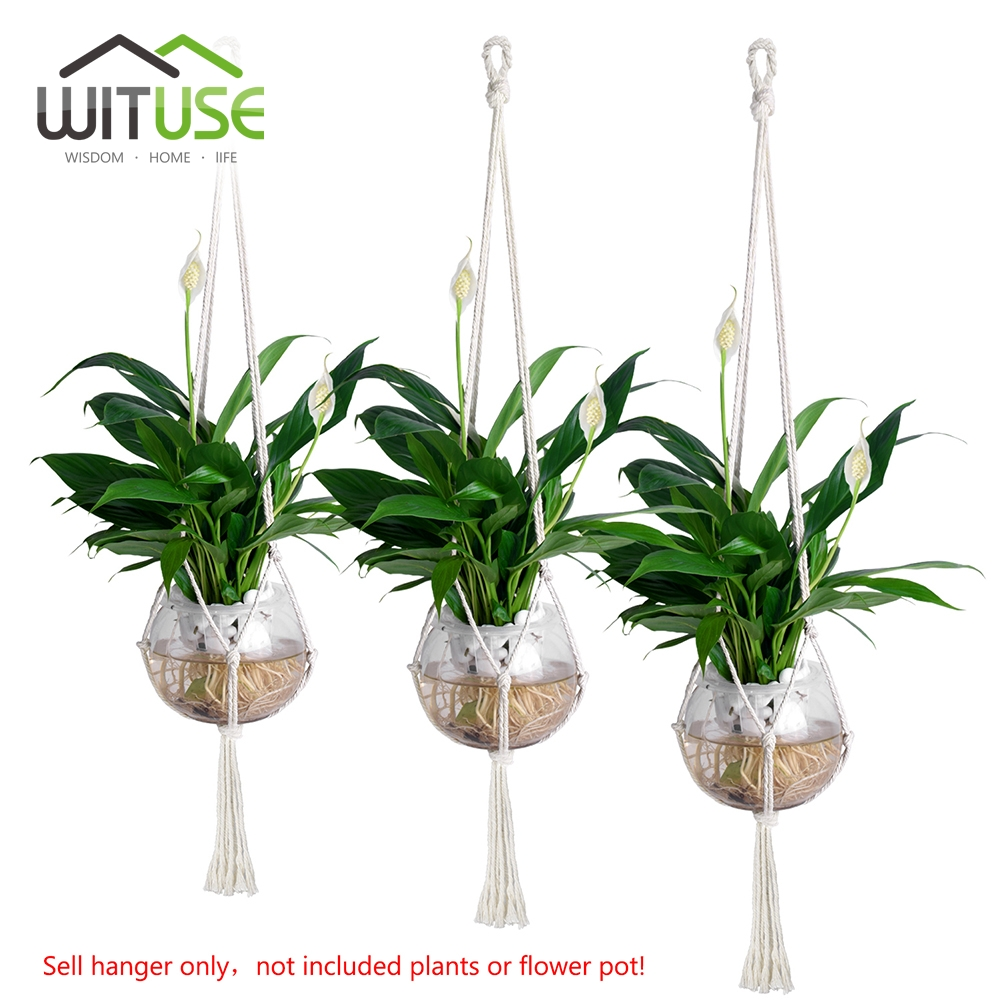 Plant Hanger S/N/L 3pcs 4 Legs Fit 6/8/10 Flowerpot Macrame Rope For Indoor Outdoor Hanging Flower Display Home Garden Decor ...