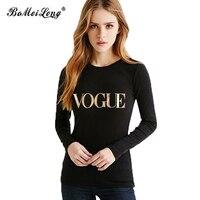 Moda Marka T Shirt Kadın VOGUE Baskılı Eğlence Tişörtleri kadın üstleri Tee Sıcak Satış Sokak Hippi Punk Tarzı Uzun Kollu Blusa