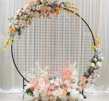 Wedding circle grid screen wedding background sen department circular square iron mesh window display pieces